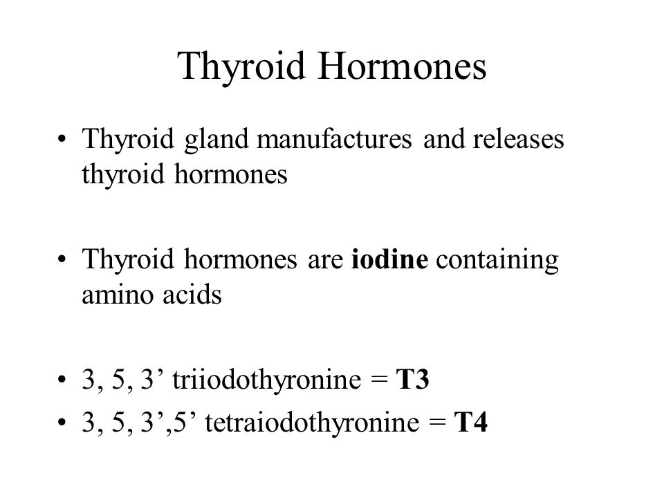 Thyroid Hormones Thyroid gland manufactures and releases thyroid hormones. Thyroid hormones are iodine containing amino acids.