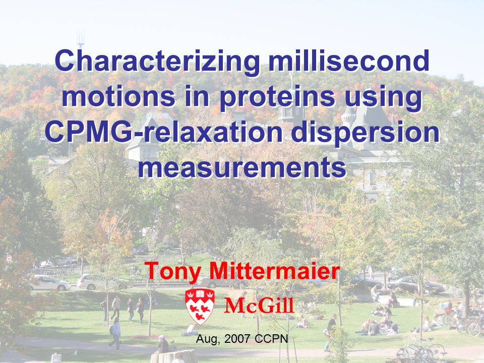Characterizing millisecond motions in proteins using CPMG-relaxation dispersion measurements