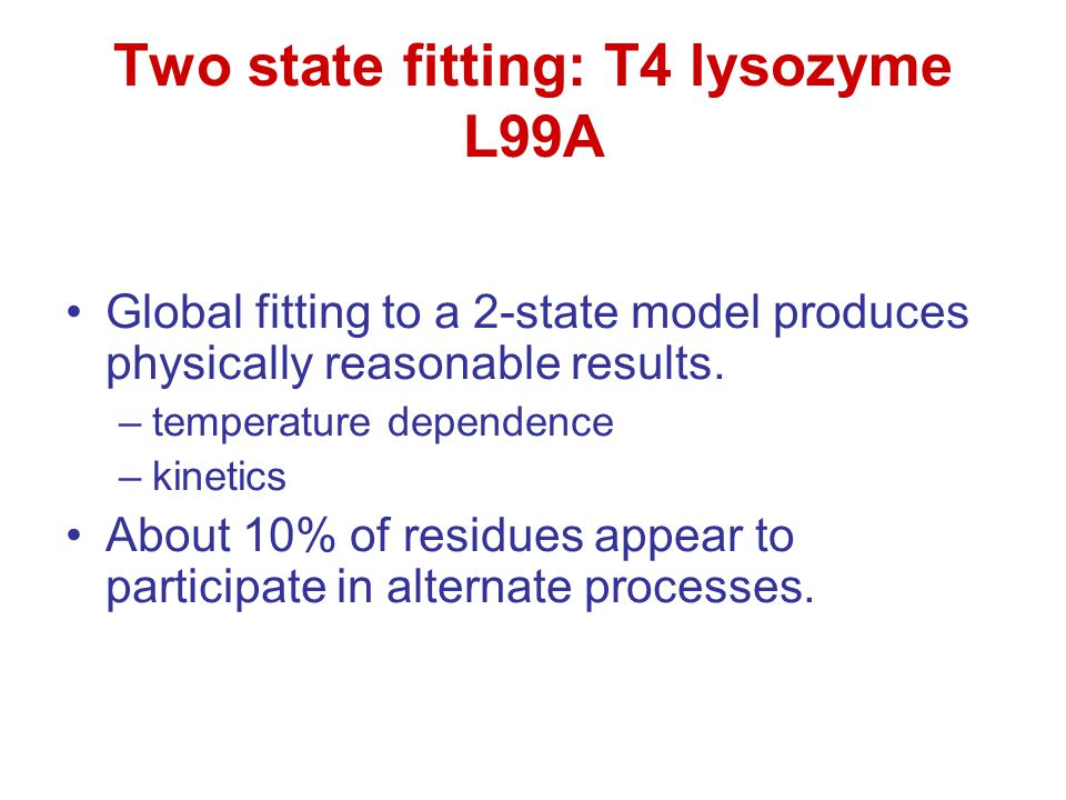 Two state fitting: T4 lysozyme L99A