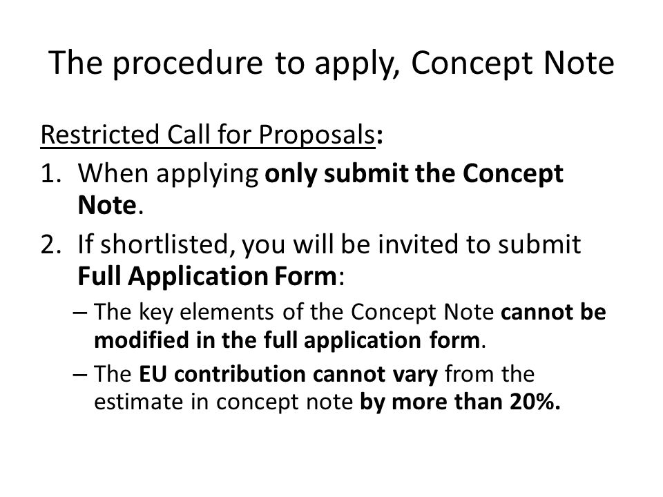 The procedure to apply, Concept Note
