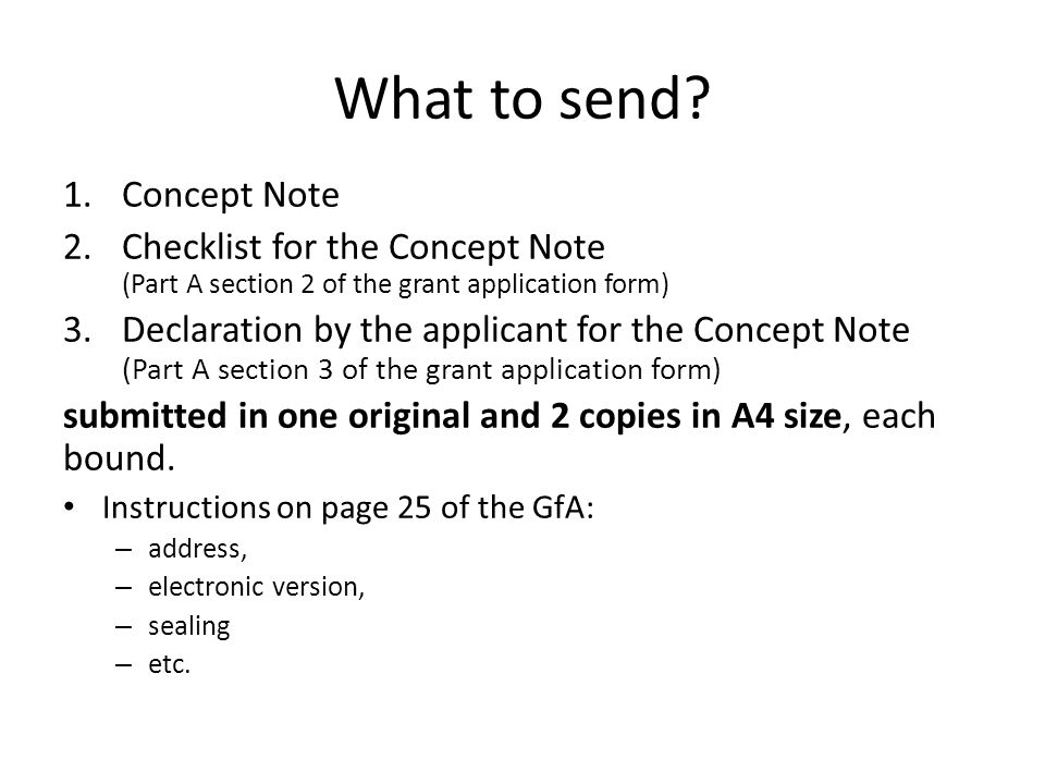 What to send Concept Note