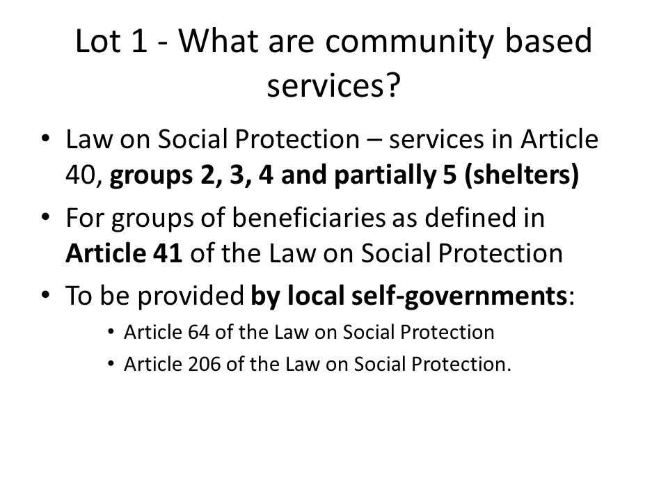 Lot 1 - What are community based services