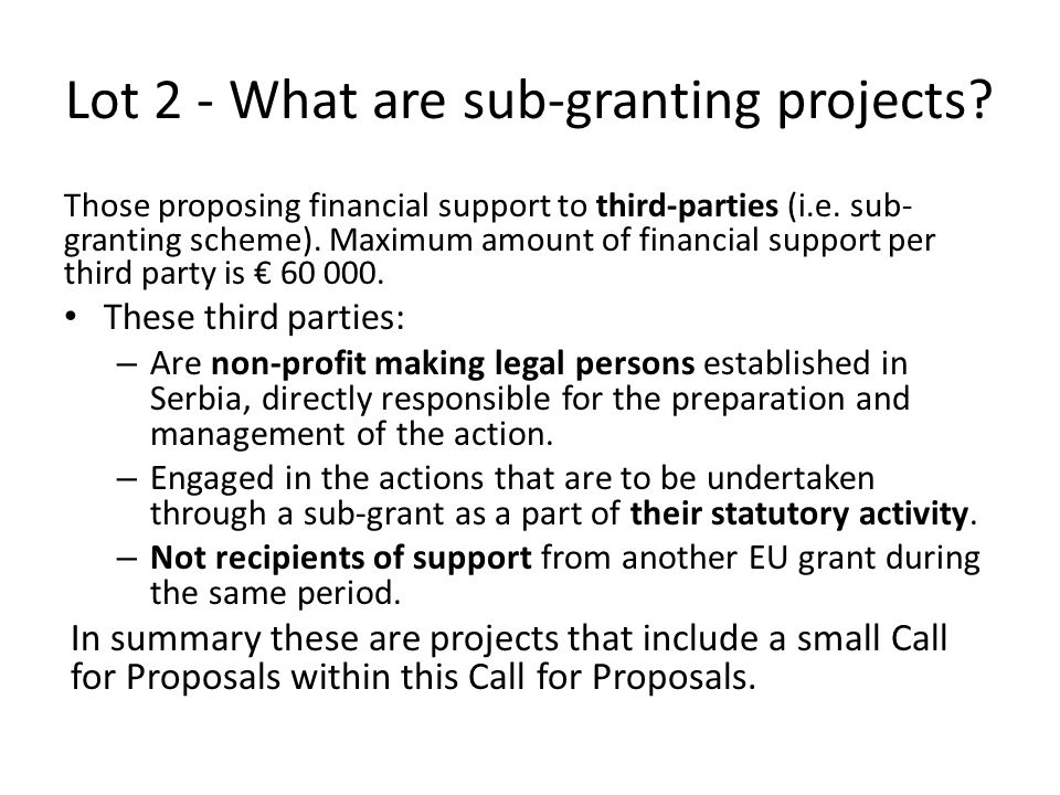 Lot 2 - What are sub-granting projects