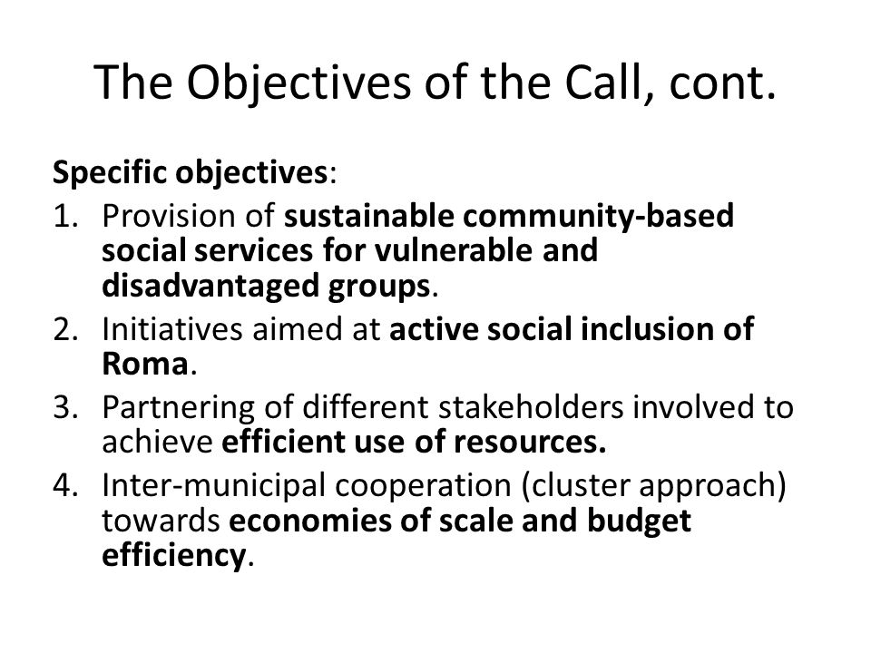 The Objectives of the Call, cont.