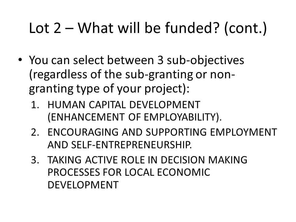 Lot 2 – What will be funded (cont.)