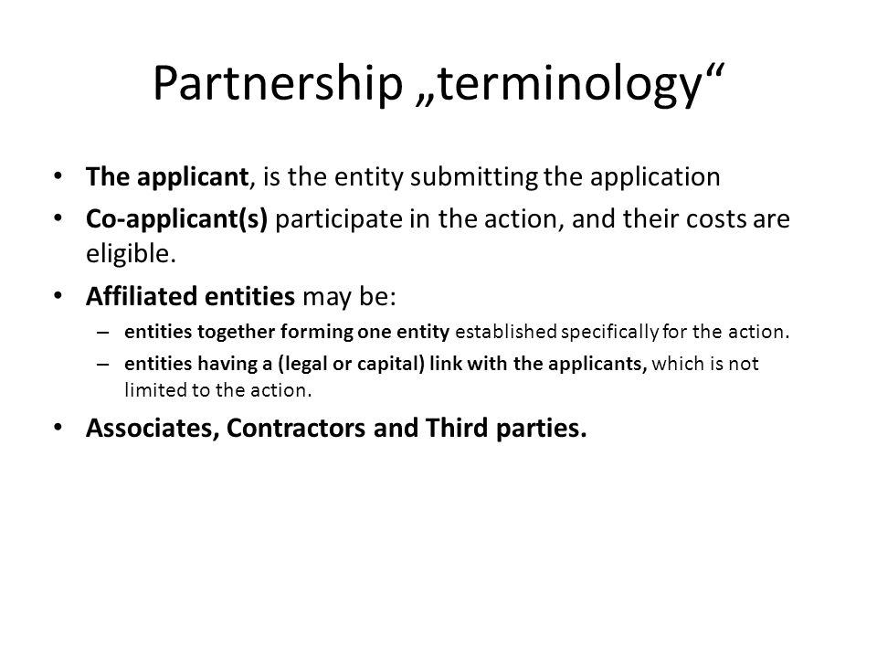 "Partnership ""terminology"