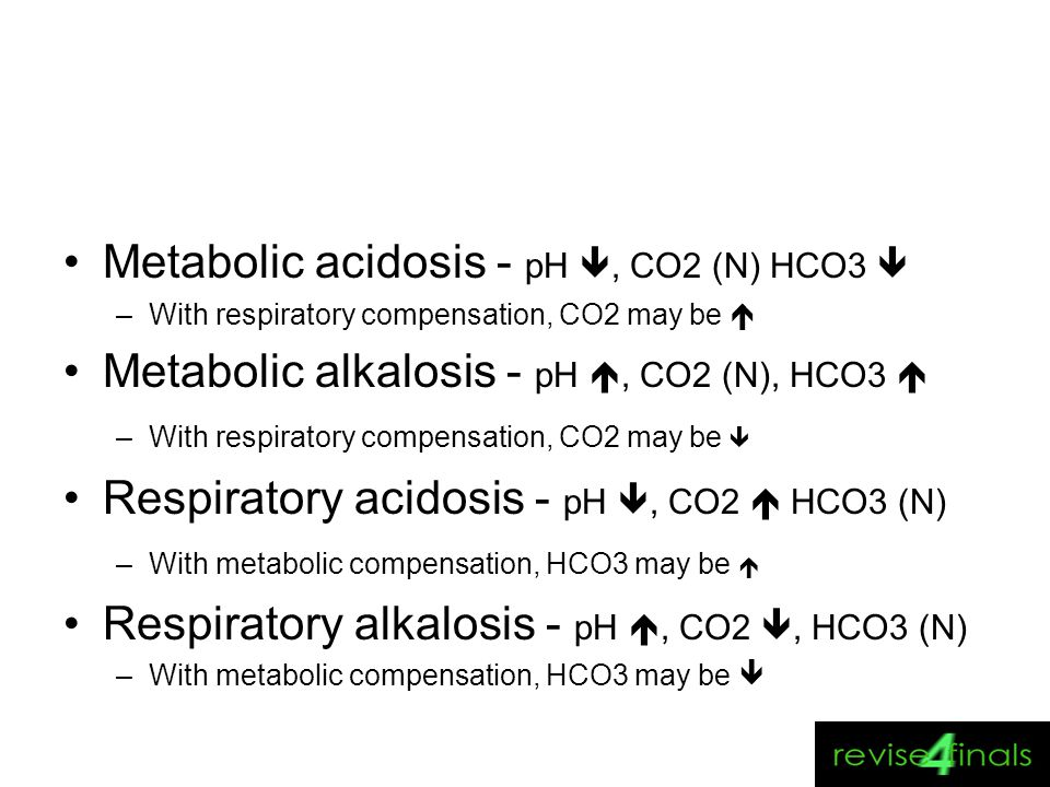 Metabolic acidosis - pH , CO2 (N) HCO3 