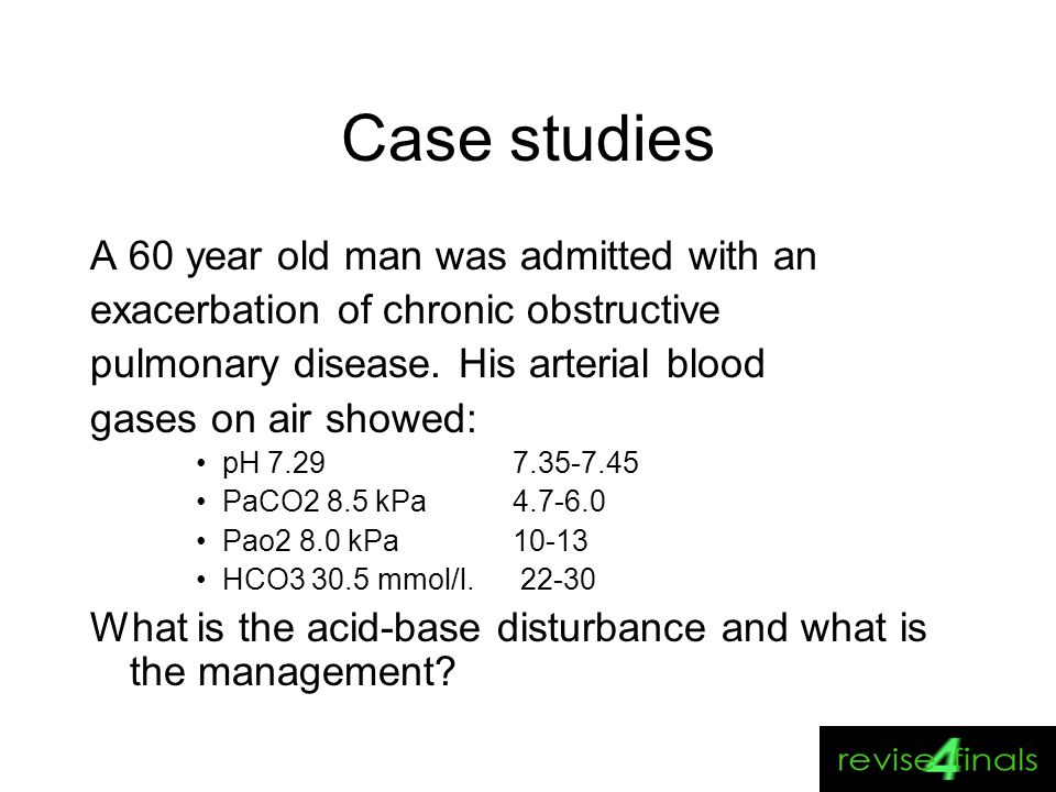 Case studies A 60 year old man was admitted with an