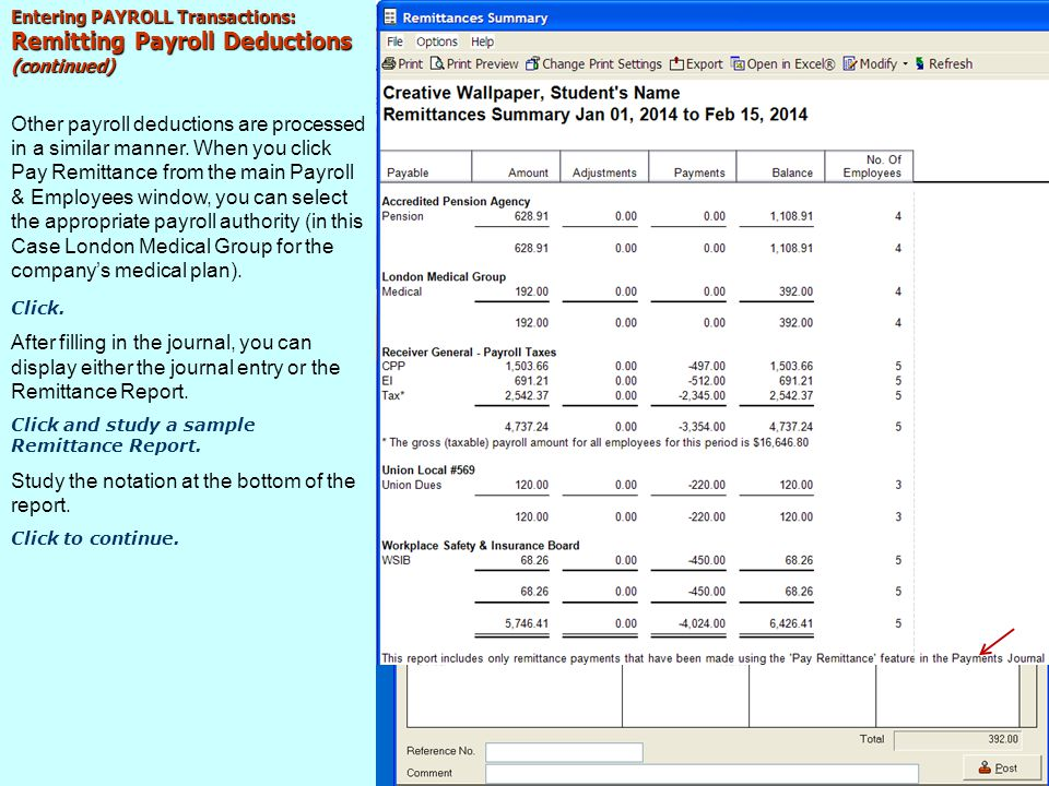 Remitting Payroll Deductions (continued)