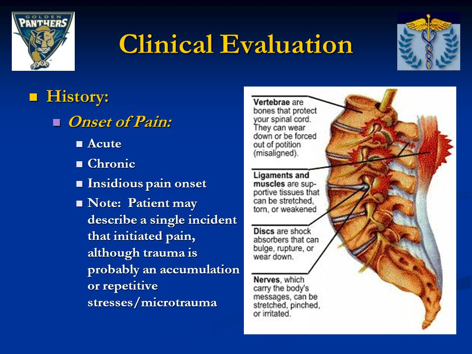 Clinical Evaluation History: Onset of Pain: Acute Chronic