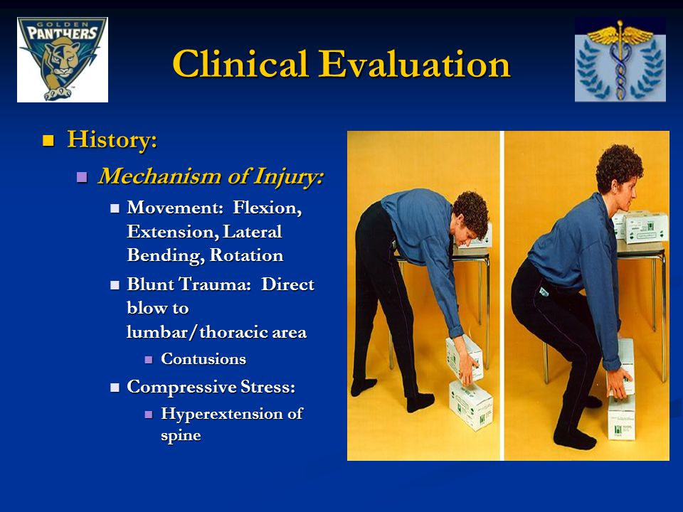Clinical Evaluation History: Mechanism of Injury: