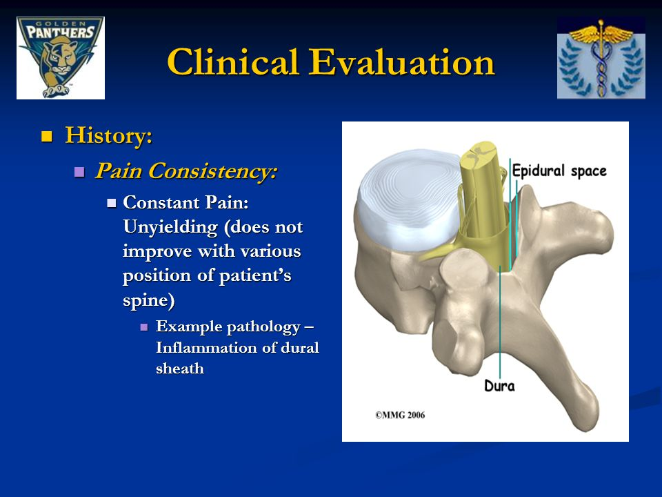 Clinical Evaluation History: Pain Consistency: