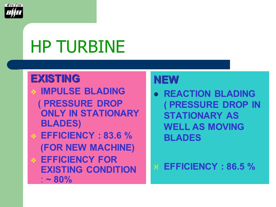 HP TURBINE EXISTING NEW IMPULSE BLADING