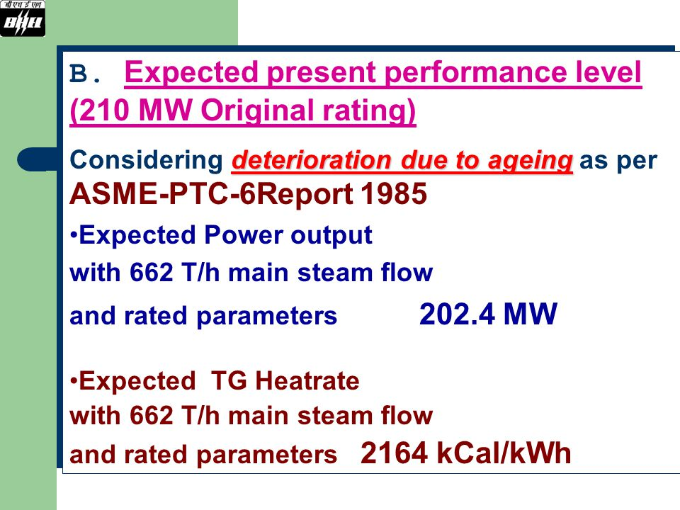 B. Expected present performance level (210 MW Original rating)