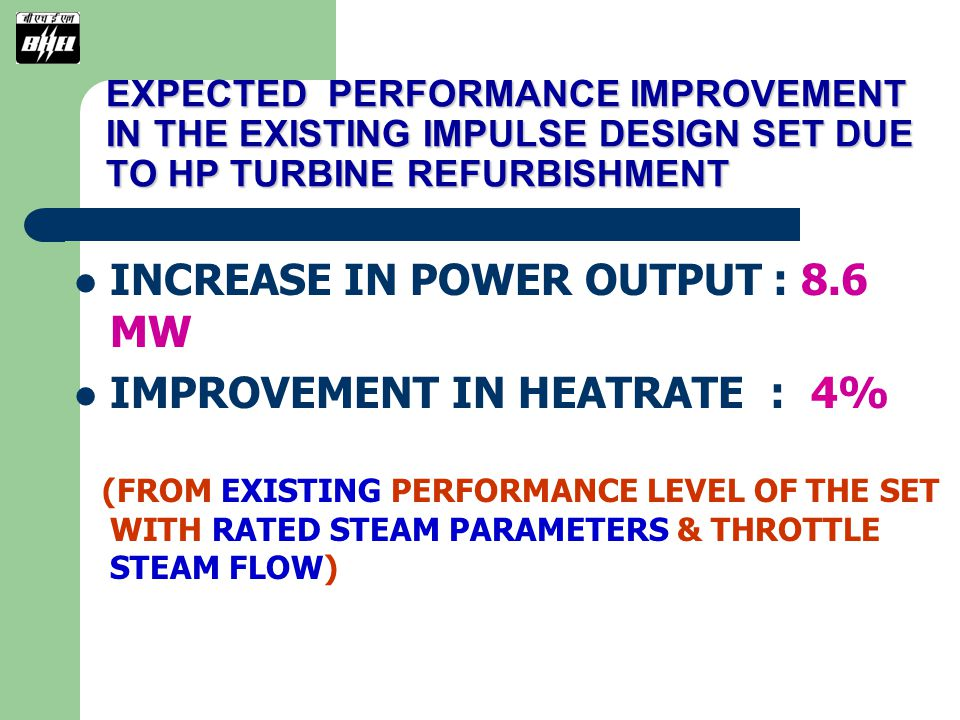 INCREASE IN POWER OUTPUT : 8.6 MW IMPROVEMENT IN HEATRATE : 4%