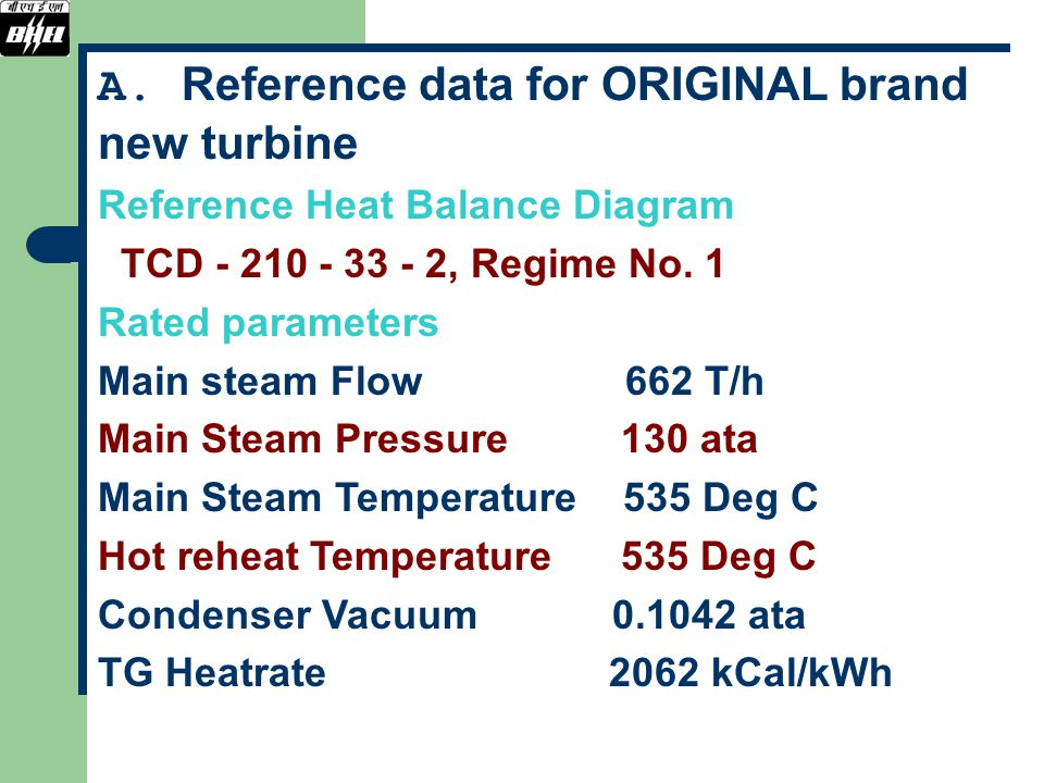 A. Reference data for ORIGINAL brand new turbine