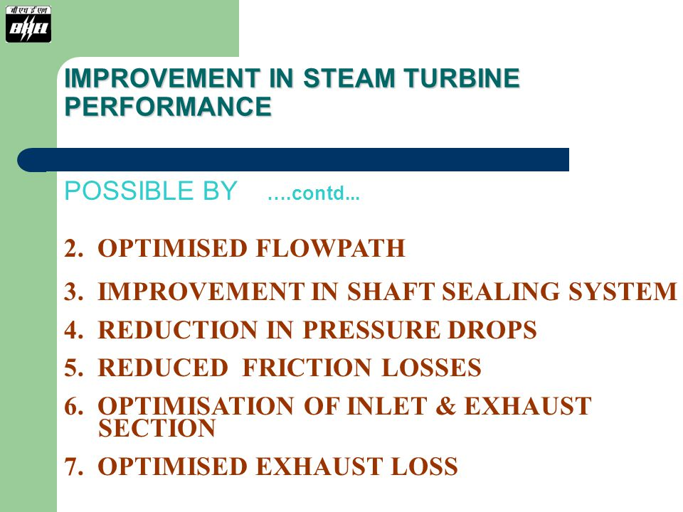 IMPROVEMENT IN STEAM TURBINE PERFORMANCE