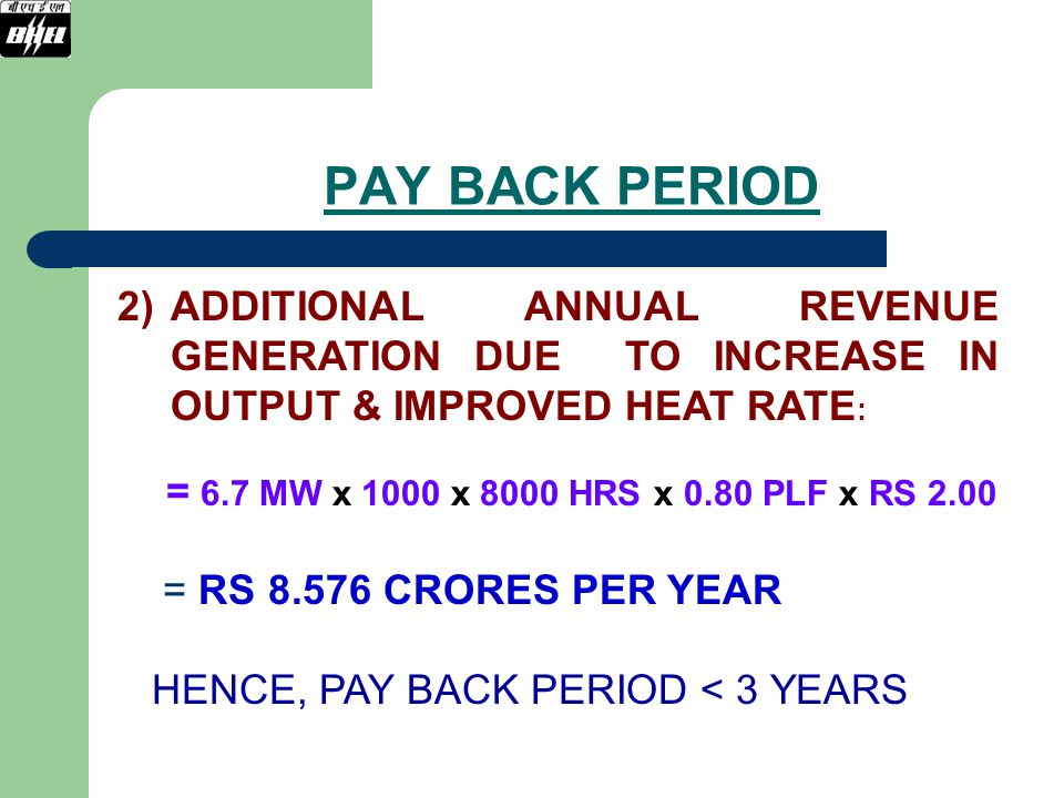 PAY BACK PERIOD ADDITIONAL ANNUAL REVENUE GENERATION DUE TO INCREASE IN OUTPUT & IMPROVED HEAT RATE: