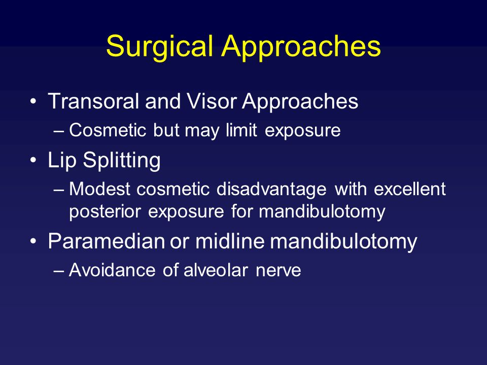 Surgical Approaches Transoral and Visor Approaches Lip Splitting