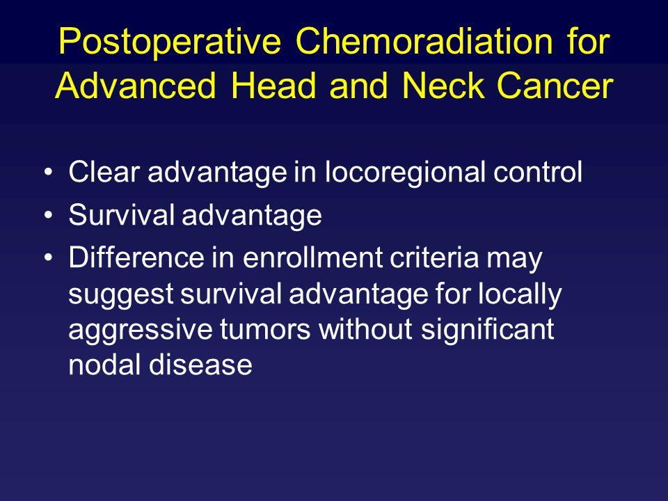 Postoperative Chemoradiation for Advanced Head and Neck Cancer