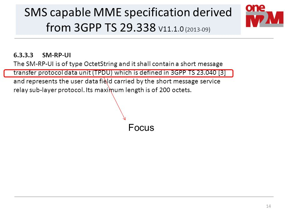SMS capable MME specification derived from 3GPP TS 29. 338 V11. 1