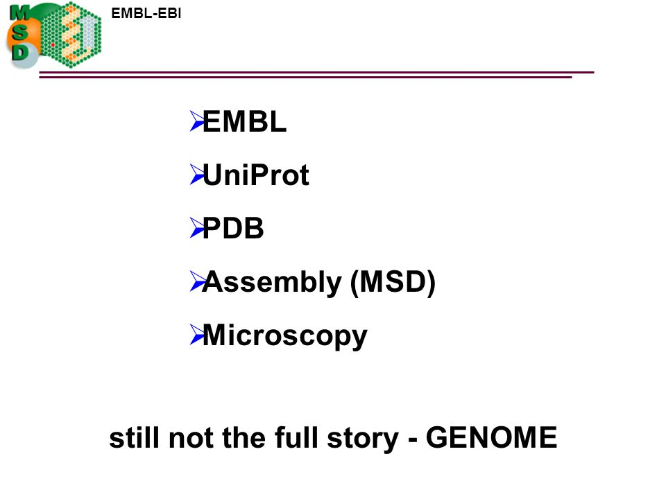 EMBL UniProt PDB Assembly (MSD) Microscopy still not the full story - GENOME