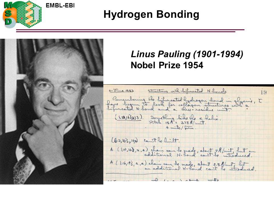Hydrogen Bonding Linus Pauling (1901-1994) Nobel Prize 1954