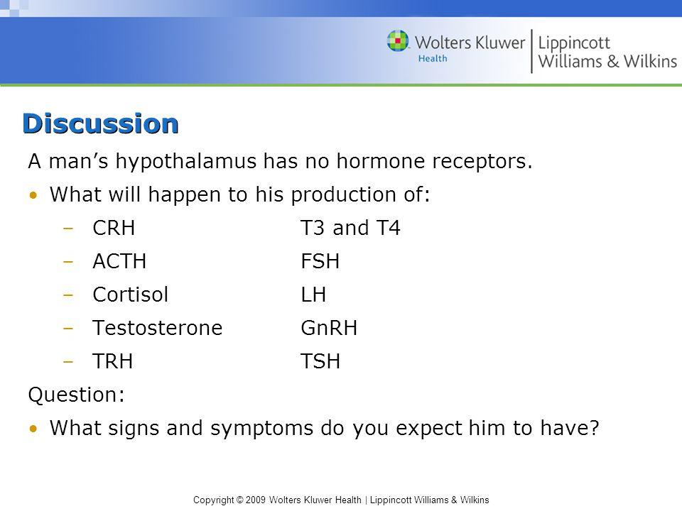 Discussion A man's hypothalamus has no hormone receptors.