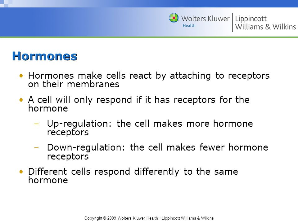 Hormones Hormones make cells react by attaching to receptors on their membranes. A cell will only respond if it has receptors for the hormone.