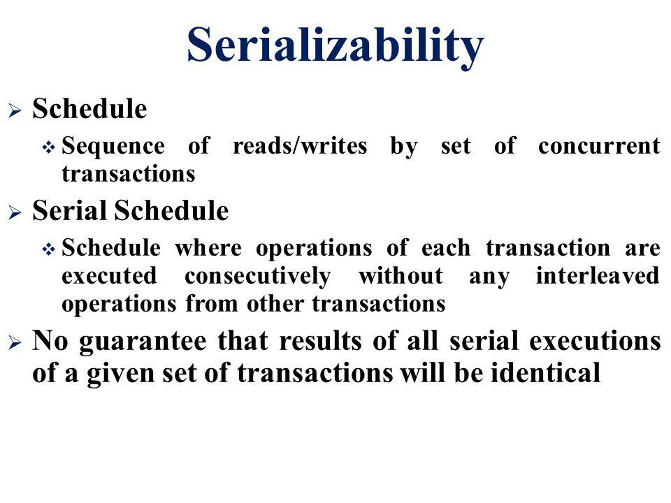 Serializability Schedule Serial Schedule