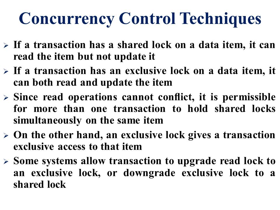 Concurrency Control Techniques
