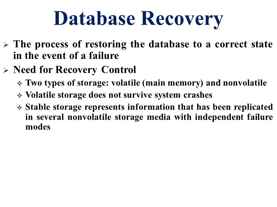 Database Recovery The process of restoring the database to a correct state in the event of a failure.