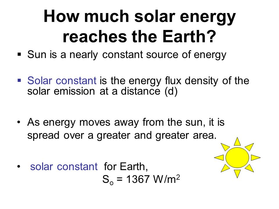 How much solar energy reaches the Earth