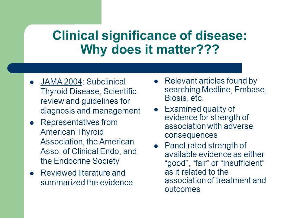 Clinical significance of disease: Why does it matter