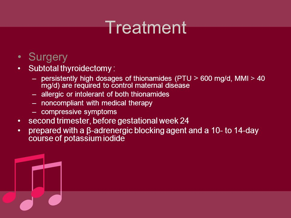 Treatment Surgery Subtotal thyroidectomy :
