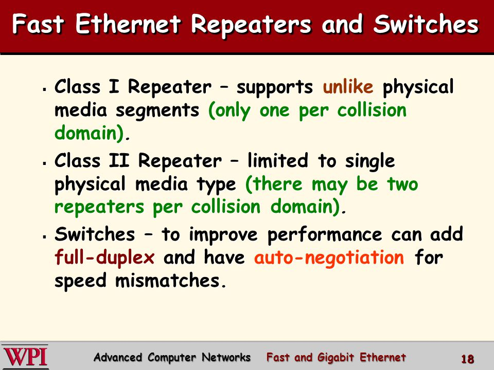 Fast Ethernet Repeaters and Switches