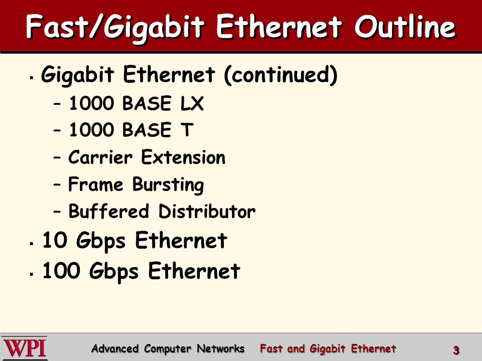 Fast/Gigabit Ethernet Outline