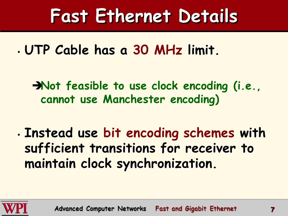 Advanced Computer Networks Fast and Gigabit Ethernet