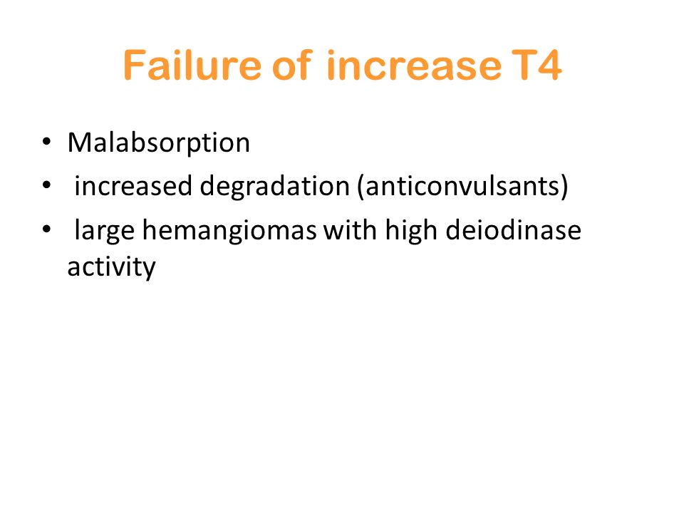 Failure of increase T4 Malabsorption