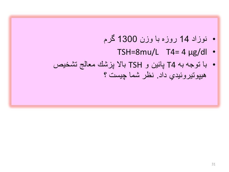 نوزاد 14 روزه با وزن 1300 گرم T4= 4 µg/dl TSH=8mu/L.