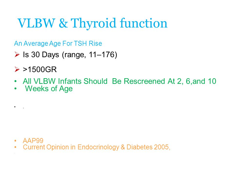 VLBW & Thyroid function