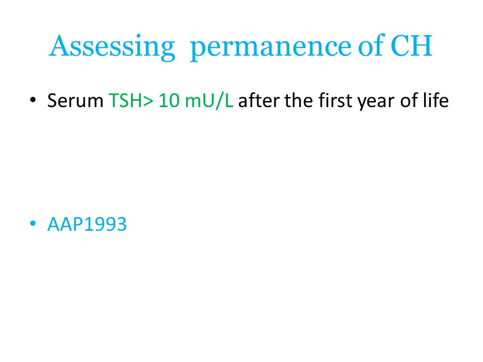 Assessing permanence of CH