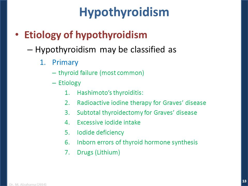 Hypothyroidism Etiology of hypothyroidism