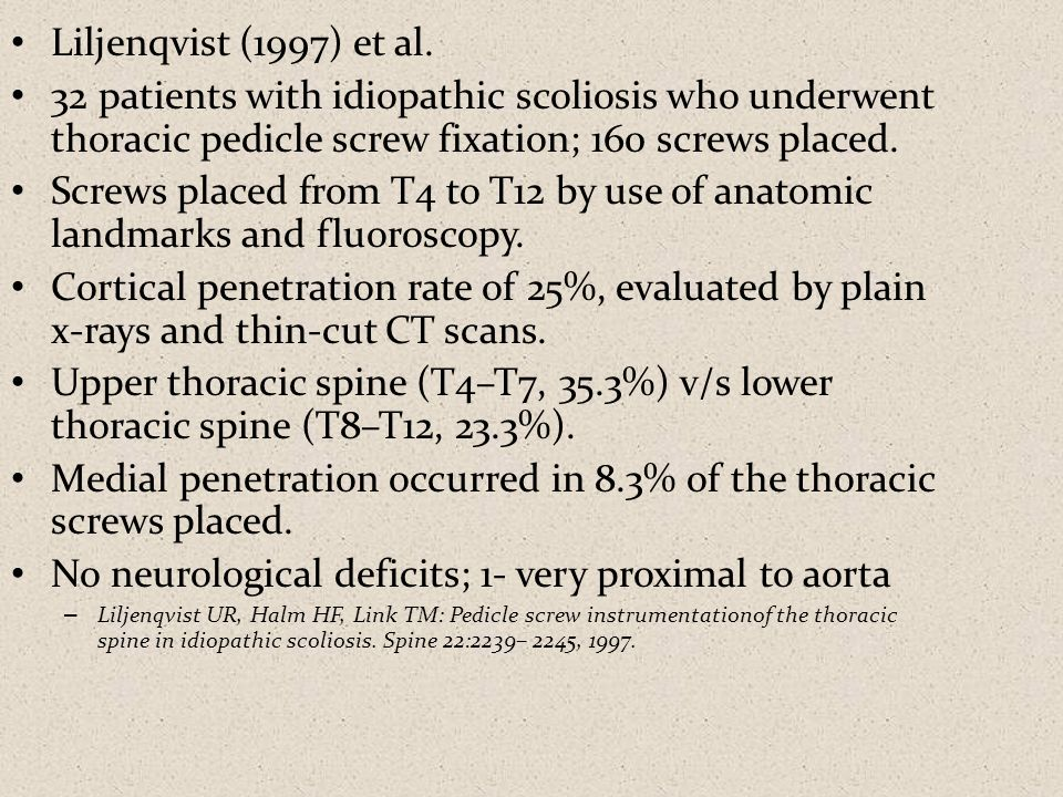 Medial penetration occurred in 8.3% of the thoracic screws placed.