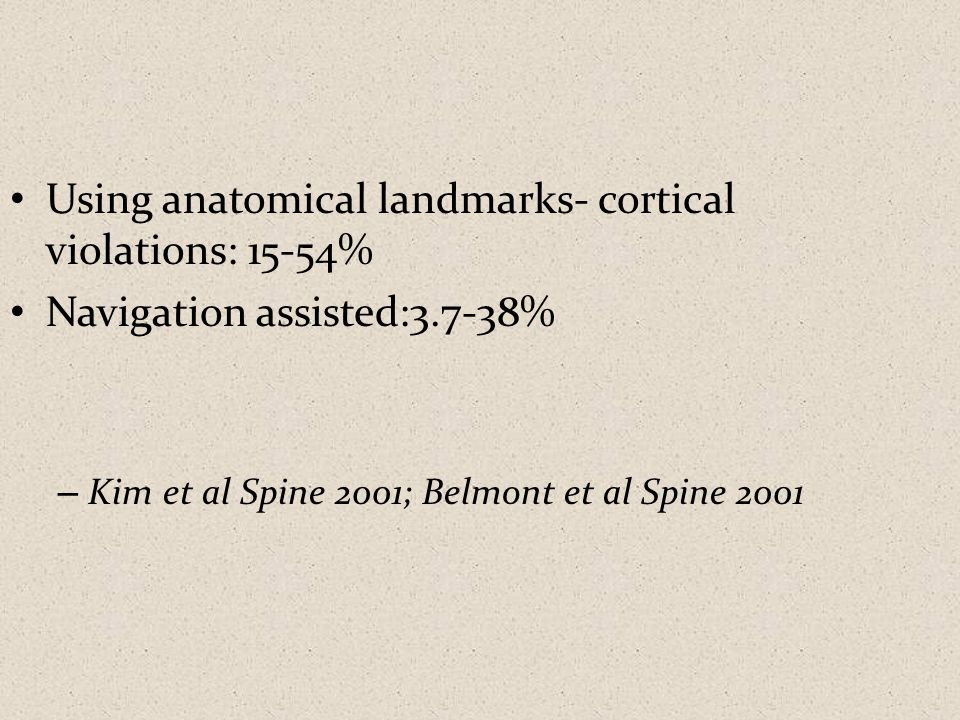 Using anatomical landmarks- cortical violations: 15-54%