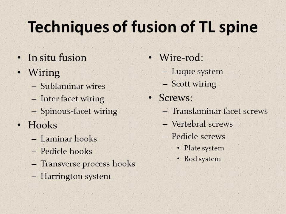 Techniques of fusion of TL spine