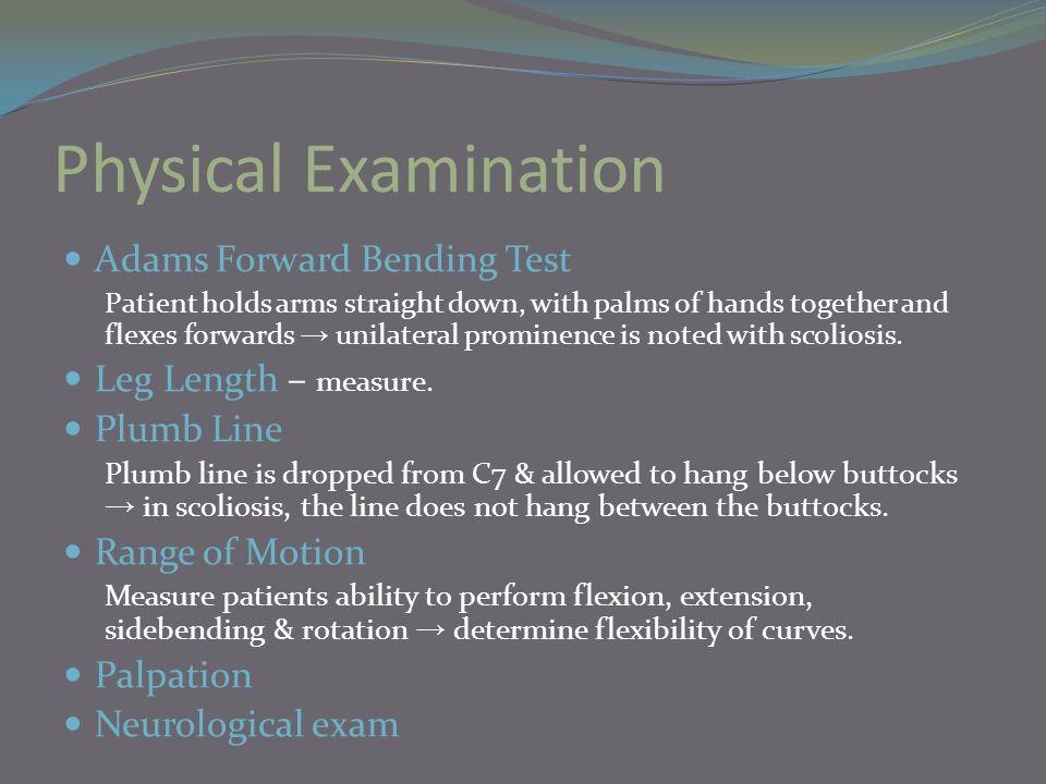 Physical Examination Adams Forward Bending Test Leg Length – measure.