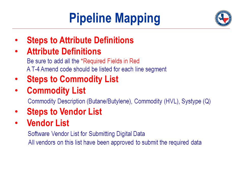 Pipeline Mapping Steps to Attribute Definitions Attribute Definitions
