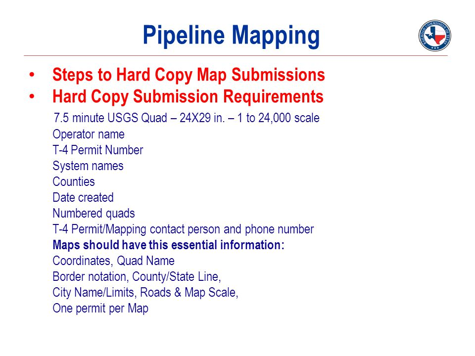 Pipeline Mapping Steps to Hard Copy Map Submissions