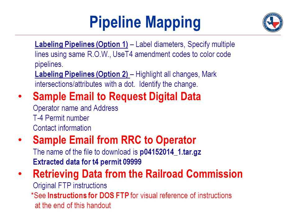 Pipeline Mapping Sample Email to Request Digital Data